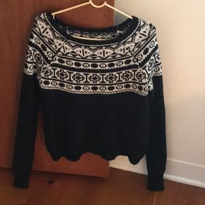 Black and White Scoop Neck Sweater